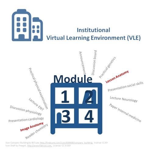 An Institutional VLE contains a mix of disciplines, materials of a specific discipline are distributed across modules.